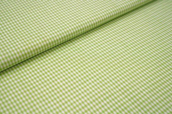 Baumwollstoff Baumwolle vichykaro Karomuster sehr klein kariert weiß / hellgrün