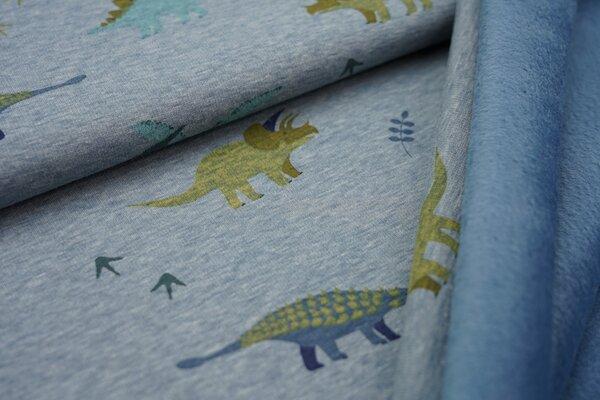 Kuscheliger Happy Fleece Alpenfleece Dinosaurier auf jeansblau meliert melange Kuschelsweat