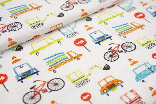 Baumwoll-Jersey bunte Fahrzeuge & Verkehrszeichen auf weiß Autos Lkw Bagger
