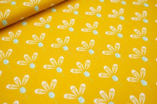 Baumwolle mit Blumen-Muster senf / weiß / mint