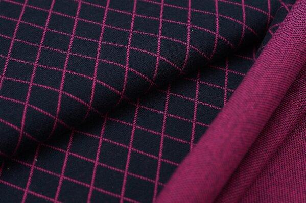 Jacquard-Sweat Ben Rauten navy blau / amarant pink