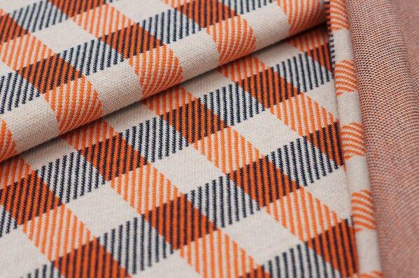 Jacquard-Sweat Ben Karos orange / off white / navy blau