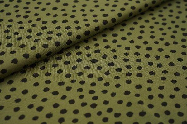 Baumwoll-Jersey schwarze getupfte Punkte auf khaki grün