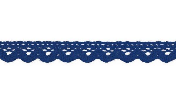 Baumwolle Spitzenborte Häkelborte uni kobaldblau 15 mm breit Klöppelspitze