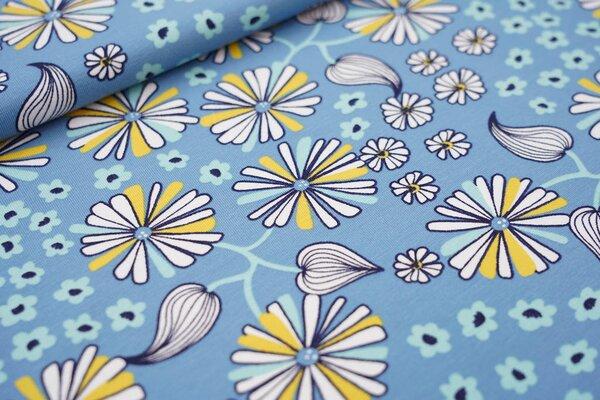 Baumwoll-Jersey große Blumen und Blüten hellblau / weiß / gelb / mint / schwarz