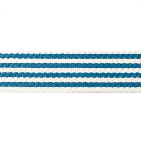 Breites Gurtband mit 4 Streifen off white / jeansblau 40 mm