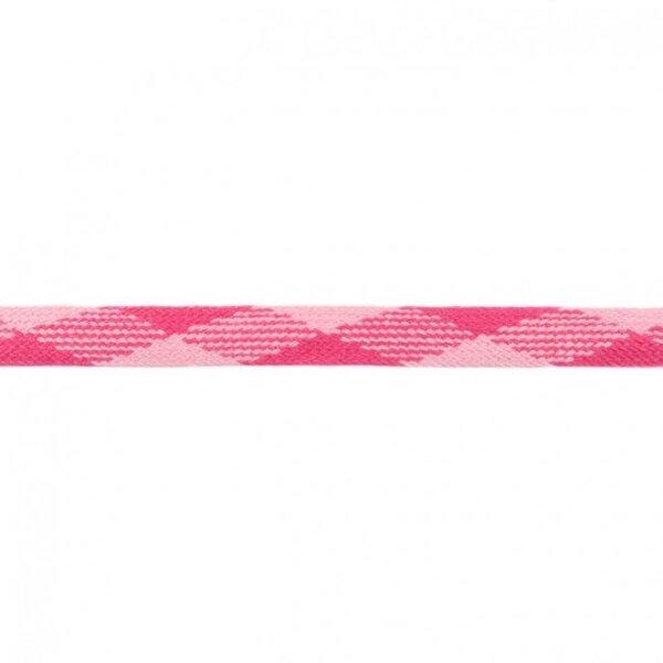 Kordel flach kariert fuchsia / rosa 20 mm breit