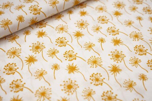 Baumwollstoff Pusteblumen weiß / senf