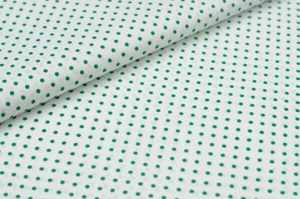 Baumwollstoff Baumwolle kleine Punkte weiß / dunkelgrün