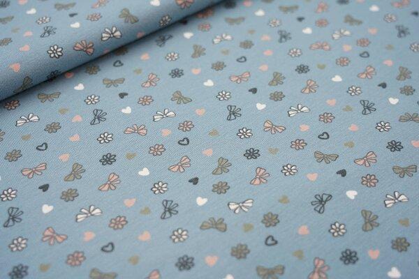 Baumwoll-Jersey Schleifen und Herzen auf blaugrau