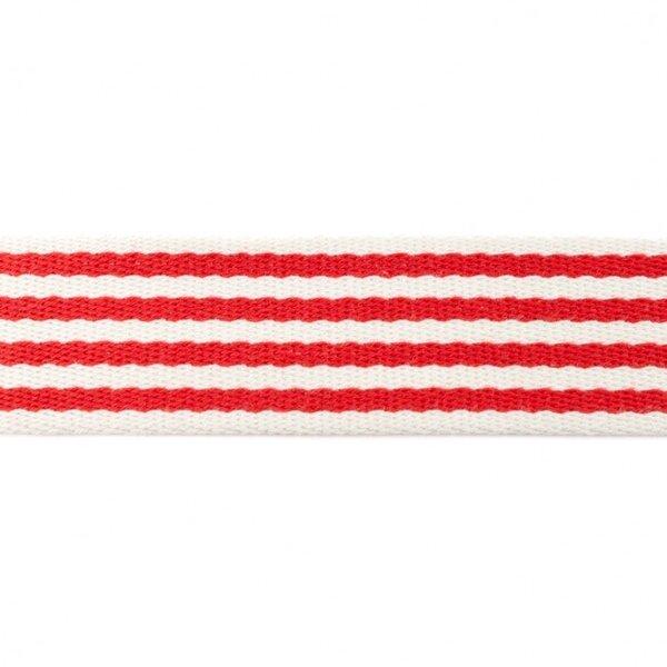 Breites Gurtband mit 4 Streifen off white / rot 40 mm