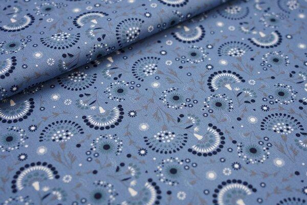 Baumwoll-Stoff mit Blumen Fächer taupe blau / grau / dunkelblau / weiß