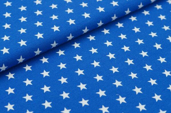 Baumwoll-Jersey kleine Sterne königsblau / weiß