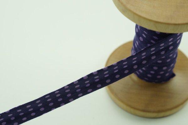 Jersey-Schrägband 1,5 cm breit lila mit hell lila Punkten 6 m