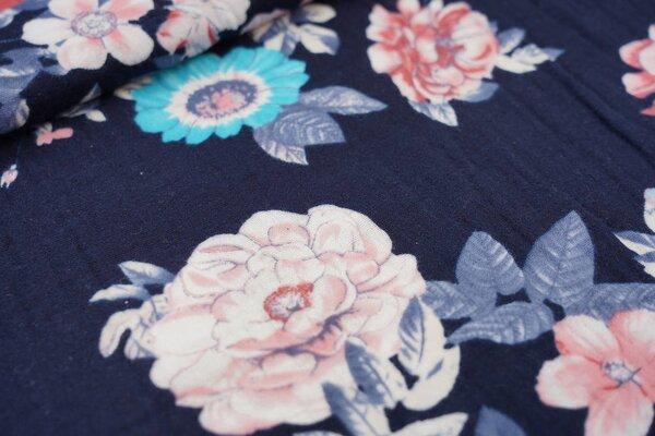 Musselin Stoff Double Gauze mit großen Rosen Blumen auf dunkelblau