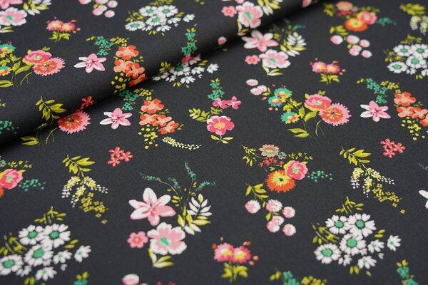 Baumwoll-Stoff mit bunten Blumen auf schwarz