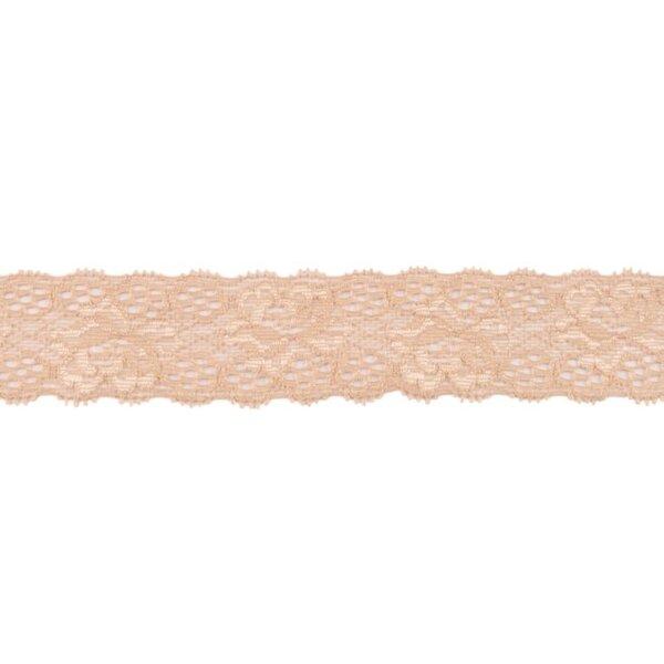 Spitzenborte Zierband elastische Spitze mit Rüschen Blumen uni sand beige 35 mm