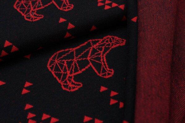 Jacquard-Sweat Ben rote Eisbären und Dreiecke auf schwarz