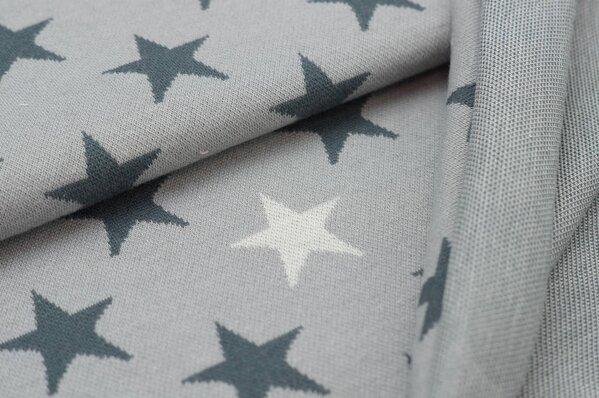 Jacquard-Sweat Ben dunkelgraue und off white Sterne auf hellgrau