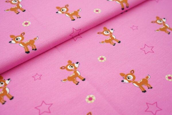 Baumwoll-Jersey kleines Reh Blumen und Sterne auf hell pink