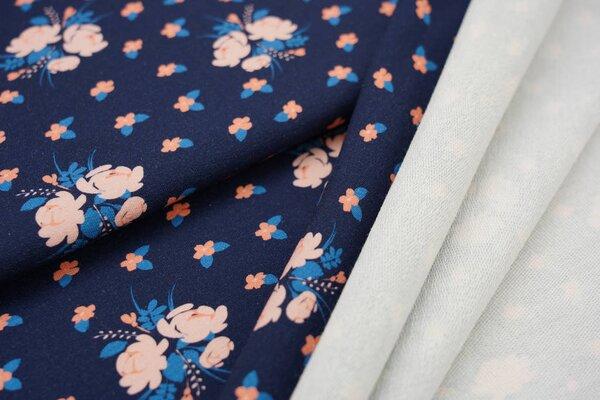 XXL Baumwoll-Sweat Digitaldruck kleine Blumen auf dunkelblau mit lachs rosa