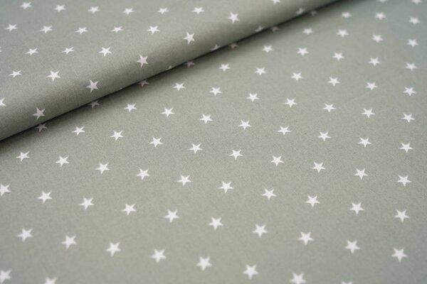 Baumwolle weiße Sterne auf altgrün