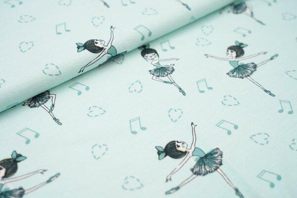 Baumwoll-Jersey mitHerzen Ballerina türkis auf mint