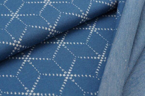 Jacquard-Sweat Ben off white Geometrie Muster Würfel Blöcke auf taupe blau