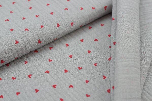 Musselin Stoff Double Gauze kleine rote Herzen auf grau