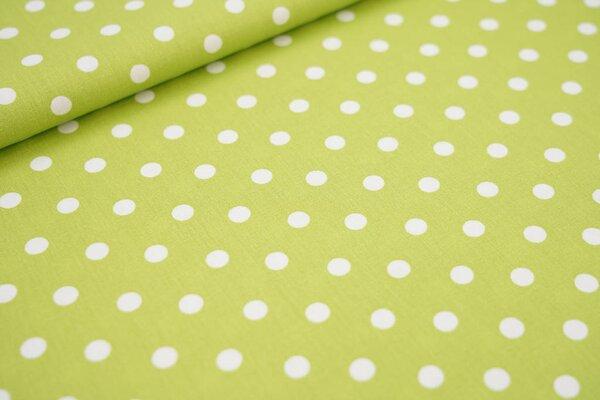 Baumwollstoff Baumwolle hellgrün mit großen weißen Punkten