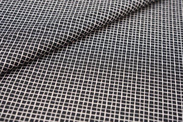 Baumwollstoff Baumwolle schwarz mit kleinen weißen Rauten Karos