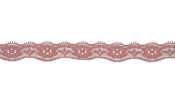 Elastische Spitze mit Blumen uni dunkel altrosa 20 mm Spitzenborte Zierband
