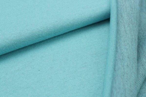 Jacquard-Sweat Ben eisblau Uni mit eisblau und navy blau Rückseite