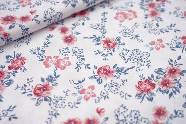 Sommer T-Shirt-Stoff / leichter Jersey Blumen in blau und rosa auf weiß