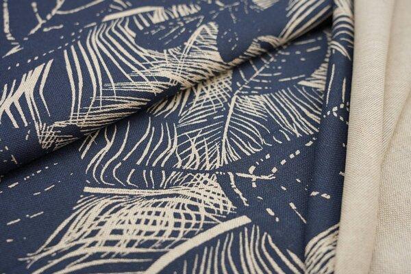 Canvas-Stoff Dekostoff in Leinenoptik große natur Blätter auf jeansblau