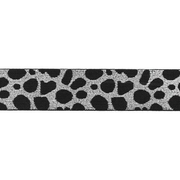 Breites Gummiband Leopard dunkelblau mit Glitzer in silber 40 mm