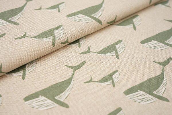 Canvas-Stoff Dekostoff in Leinenoptik altmint grüne Wale auf natur