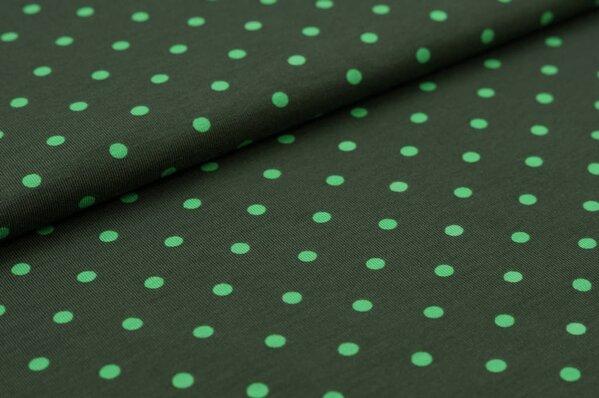Baumwoll-Jersey große apfelgrüne Punkte auf dunkel moosgrün