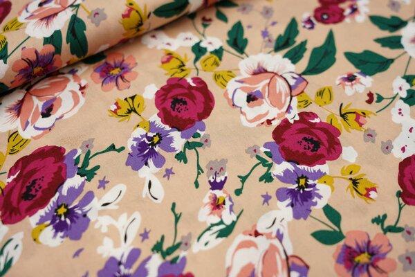 Baumwollstoff große bunte Blumen Rosen Stiefmütterchen auf beige hautfarben
