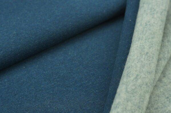 Wintersweat Elli uni dunkelblau melange mit Rückseite in grau