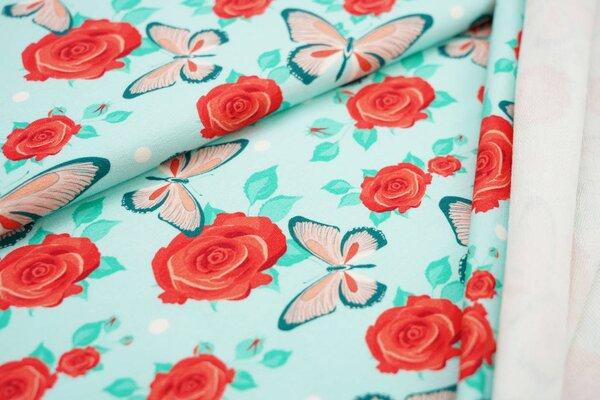 Baumwoll-Sweat Digitaldruck rote Rosen Punkte und Schmetterlinge auf mint