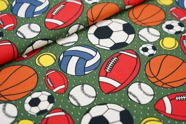 Baumwoll-Jerseystoff Bälle Fußball Basketball Tennisball Volleyball armeegrün