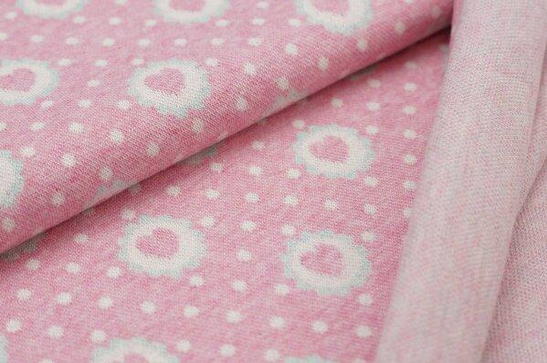 Jacquard-Sweat Mia Punkte Herzen Blume pastell pink und mint Melange / off white