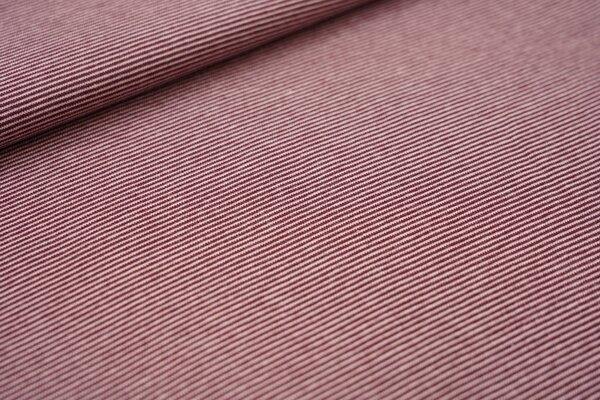 Ringelbündchen glatt Mini-Streifen rost bordeaux rot / rosa