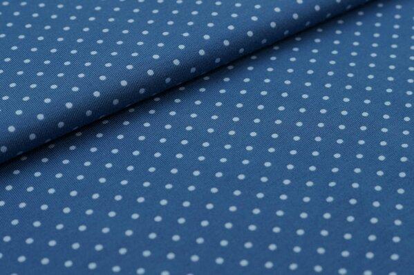 Baumwoll-Jersey kleine hell blaue Punkte auf taupe blau
