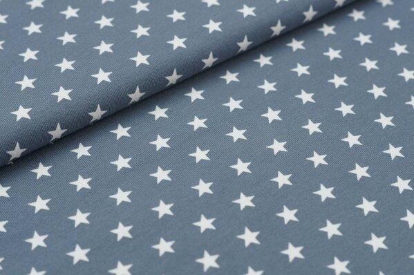 Baumwoll-Jersey kleine Sterne silbergrau / weiß
