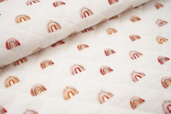 Musselin Stepp-Stoff Digitaldruck Aquarell Regenbögen auf weiß Regenbogen
