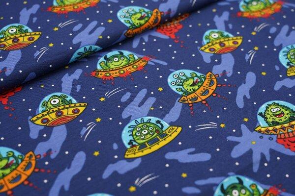 Baumwoll-Jersey Ufos im Weltall Raumschiffe Außerirdische auf dunkelblau