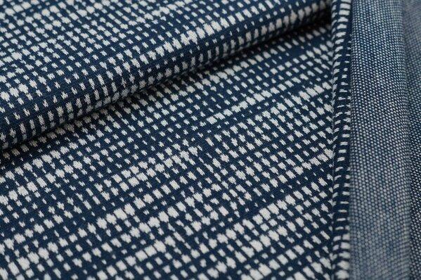 Jacquard-Sweat Ben Kästchen Muster navy blau / off white