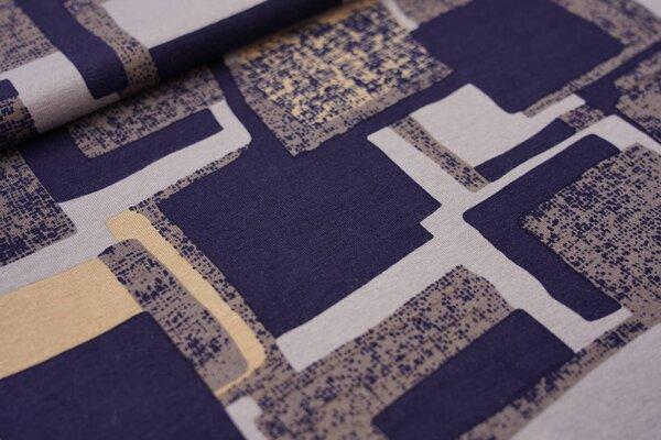 Viskose-Jersey abstrakte Kästchen Vierecke dunkelblau / grau / beige